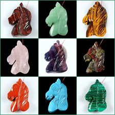 Hand carved gemstone horse head pendant focal bead 45mm