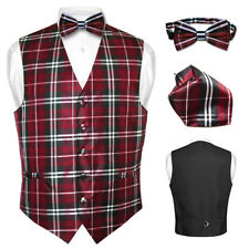 Men's Plaid Design Dress Vest BOWTie Black Burgundy White BOW Tie Set