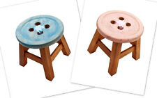 FAIR TRADE WOOD BUTTON STOOL- GREAT FOR KIDS, FEET, DISPLAY! CHOOSE PINK OR BLUE