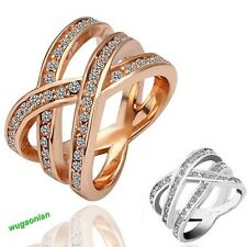 Fashion Women 18K Rose Gold GP Man Made Crystal Cross Ring 2 Colors Size 6,7,8