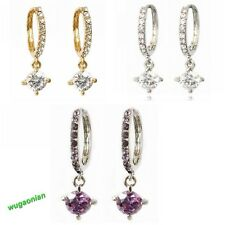 New Fashion 18k white Gold Gp clear man-made crystal zircon earrings 3 Colors