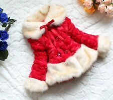 New Kids Girls Fleeced Warm Winter Faux Fur Lace Jacket Coat Age 3 4 5 6 Years