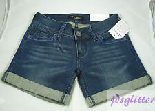 GUESS Blue Leslie Denim Stitched Logo Shorts NWT