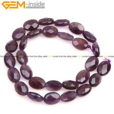 """Natural Gemstone Oval Faceted Amethyst Quartz Stone Beads For Jewelry Making 15"""""""