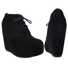 Black Women's Lace Up Hidden Platform Wedge Oxford Ankle Booties Size 5.5-10