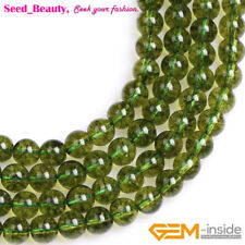 "Natural Peridot Gemstone Loose Beads Strand 15"" Round Smooth Dyed Green Color"