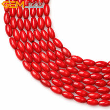 "Olivary Rice Red Coral Jewelry Making Gemstone Loose Beads Strand 15"" Size Pick"
