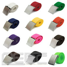 Fashion Mens Boys Plain Webbing Cotton Canvas Metal Buckle Belt 12Candy Colors