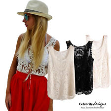 tp82 Celebrity Style Vintage Loose Fit Floral Crochet Lace Sleeveless Cami Top