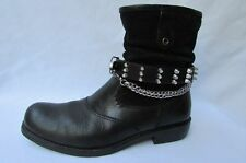New Men Women Western Biker Fashion 1 Boot Shoe Strap Chain Spikes Black Brown