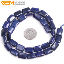 """Dyed Genuine Lapis Lazuli Stone Beads For Jewelry Making 15"""" Rectangle Deep Blue"""