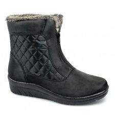 Womens Ladies Cosy Faux Fur Centre Zip Wedge Comfy Winter Snow Ankle Boots Black