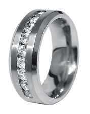 Nine CZ Stainless Steel 8mm Mens Wedding Band Ring Size 9 10 11 12 13