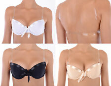 Womens Silicone Invisible Clear Back Strap Moulded Multiway Padded Push Up Bra