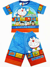 Doraemon Polyester Outfit Set T-Shirt+Shorts #1622 Blue Size 6-10 age 4-10
