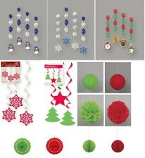 Christmas Party Decorations - Hanging Swirls Lanterns Streamers Fans Honeycombs