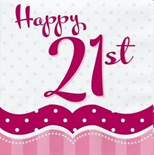 PERFECTLY PINK 21ST BIRTHDAY PARTY NAPKINS BANNER TABLE COVER BALLOONS CANDLES