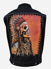 Spirit of a Nation by David Lozeau Men's Black Denim Jean Vest  Indian Skeleton