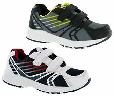NEW BOYS KIDS ASCOT TWIN VELCRO CASUAL TRAINERS SHOES UK 10-2