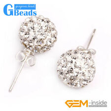 10mm Czech Crystal Rhinestone Pave Disco Ball Silver Plated Stud Earrings