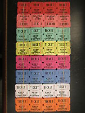 500 Raffle Tickets 50/50 Double Stub Split the Pot 8 Colors New 1/4 Roll Folded