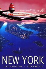 TWA Trans World Airlines Constellation New York Retro Travel Poster-3 sizes-056