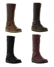Oxygen Danube Womens Leather Boots Flat Zip Mid Calf Boots Shoes Sizes UK 4 - 8
