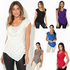 Womens Ladies Cowl Neck Blouse Sleeveless Stretch Summer Jersey Top Size 8-20