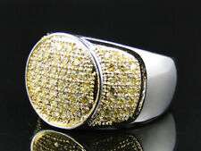 Mens White Gold Finish Stainless Steel 316 Lab Diamond Pave Round Pinky Ring