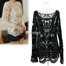 Sexy Semi Embroidery Sheer Sleeve Floral Lace Crochet Tee Top T Shirt Blouse DZ8