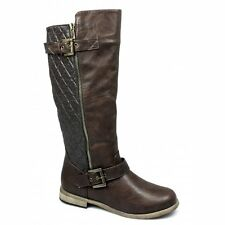 Spot On Womens Ladies Faux Leather Calf Length Zip Twin Buckle Biker Boots Brown