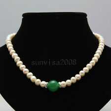 "7-8mm white freshwater pearl necklace 18"" +14mm green round agate pendants"