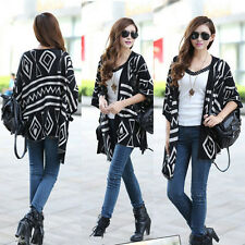 New Geometric Pattern Knitted Women Thick Casual Loose Sweater Outwear Tops XM