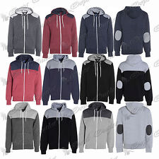 Mens Quilted Diamond Shoulder Patched Hoodie Front  Zip Long Sleeves Jacket Top