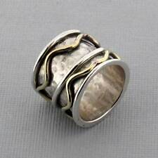 Hammered Sterling Silver Band Ring with Copper Detail Design