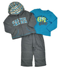Calvin Klein Infant Boys Coal Gray & Teal 3pc Pant Set Size 12M 18M 24M $58
