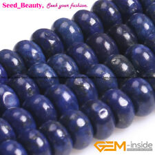 """Natual Lapis Lazuli Loose Beads Rondelle Bead Spacer Beads15"""" for Jewelry Making"""