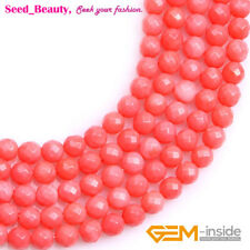 "Round Faceted Pink / Red Coral Gemstone Loose Beads Strand 15"" 4/5/6/7mm Select"