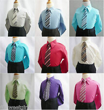 Boy's long sleeve color shirt with tie youth teen toddler formal party all size