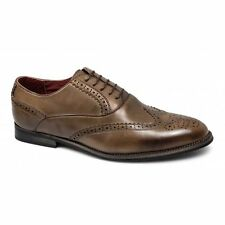 Giovanni Mens Faux Leather Brogue Lace-Up Comfy Formal Evening Dress Shoes Brown