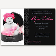 Gorgeous Photo Christening Invitations Caitlin -Black Lilac Handmade By me