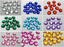 100 Flatback Acrylic Sewing Rhinestone Round Sew on beads 14mm Pick Your Color