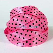 "5/8"" 16mm Hot Cute Classic Polka Dot print Satin Ribbon DIY Baby Crafts"