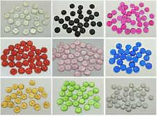 200 Acrylic Round Flatback Dotted Rhinestone Beads 8mm Pick Your Color