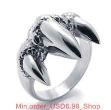 316L Stainless Steel Punk Silver Fierce Eagle Claw Charm Finger Ring L074372