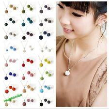 Muti-colors Sparkle Jewelry Crystal  Disco Balls Silver Necklace Earrings sets