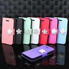 Hot Sale For iPhone 4G 4S Bling Flower Leather Flip Wallet Magnetic Case Cover