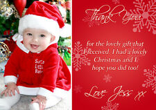 10 Personalised Christmas Greeting Thank You Cards Message Photo Red Snowflakes