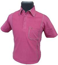 SALE! Size S: GABICCI VINTAGE RETRO MOD MENS  PIPED POLO BUBBLEGUM Summerbee J6