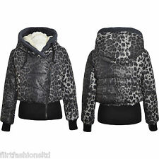 Womens Cropped Animal Print Jacket Ladies Leopard Faux Fur Hooded Bomber Coat